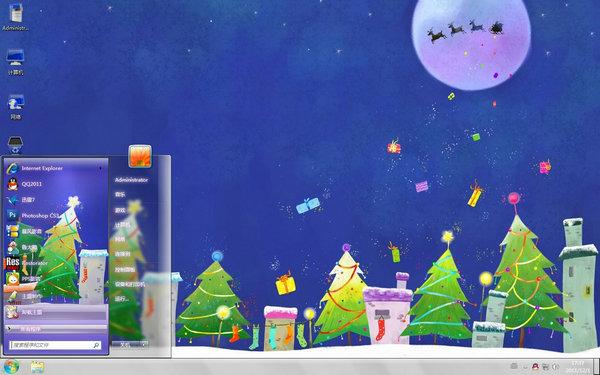 2011圣诞节礼物桌面壁纸主题(圣诞场景电脑桌面壁纸)