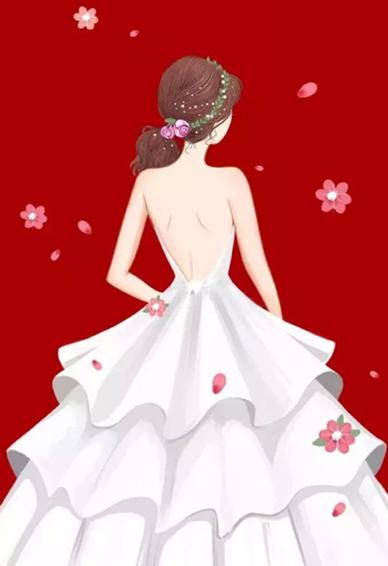 唯美婚纱图片新娘背影卡通 星光不问赶路人时光不负有心人