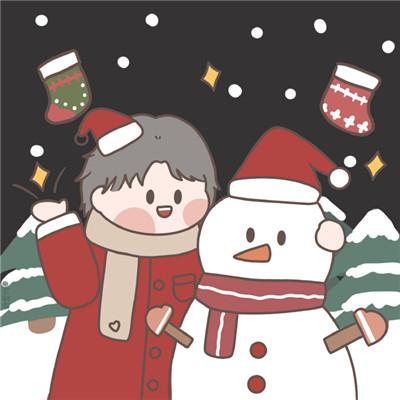 2020圣诞节专用情侣头像 2020可爱卡通圣诞情侣头像