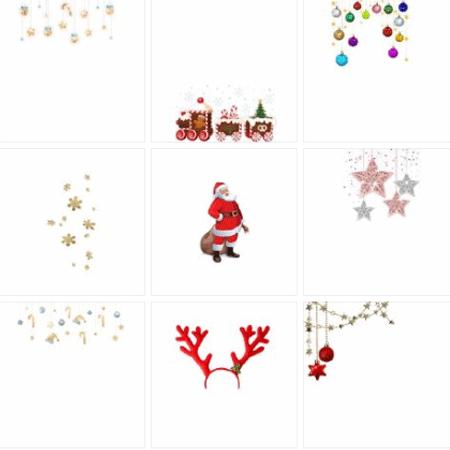 最新可爱的圣诞节九宫格发圈素材 朝朝辞暮尔尔