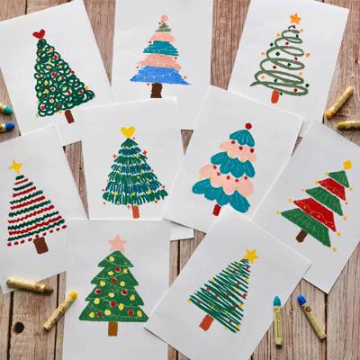 2020创意圣诞树美术绘画素材 美好与温柔都会如约而至