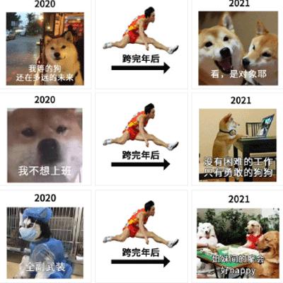2021一组跨年的搞笑表情包 跨过的都会实现的