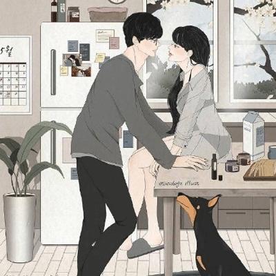 好看情侣双人卡通手绘爱情空间背景 要接受所有的不欢而散