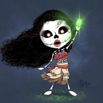 迪士尼公主卡通骷髅手绘头像 离开舒适区总是带