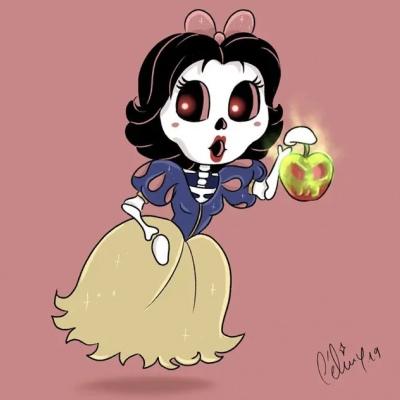 迪士尼公主卡通骷髅手绘头像 离开舒适区总是带来最好的体验