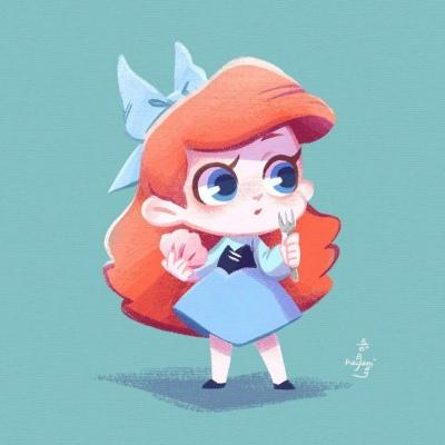 可爱迪士尼公主卡通手绘头像 不要再去拥抱那个让你难过的人