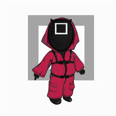 鱿鱼游戏头像红衣人可爱_旁观绝对不会比身历其境来的有趣