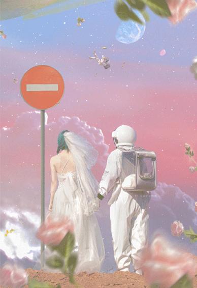 宇航员的浪漫婚纱情侣壁纸 喜欢大海日落以及一些爱而不得的东西