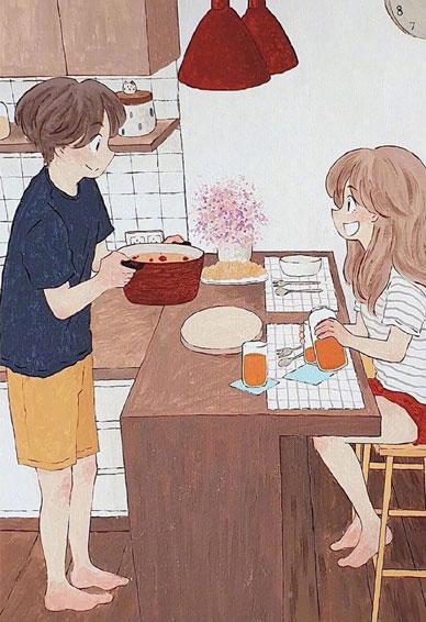 精选甜甜的爱情故事插画壁纸 暖心想让人谈恋爱的手机皮肤