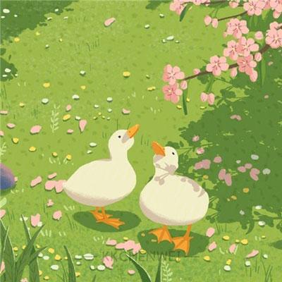2021夏季治愈系可爱鸭子卡通素材 被两只鸭子治愈的一天